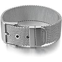 MunkiMix Acciaio Inossidabile Bracciale Braccialetto Bangle Polsino Argento Cintura Fibbia Rete Classico (Mens Cinture Moda)
