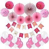 Geburtstag Dekoration, Cocodeko Happy Birthday Wimpelkette Girlande mit 4 Seidenpapier Pompoms, 6 Papier Fans Fächer und 20 Luftballons - Rosa, Pink und Weiß