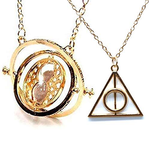 U&X Harry Potter halsketten Zeitumkehrer Hermine Sand mit Heiligtümer des Todes Halsketten Anhänger mit Sanduhr Kostüm Requisiten Cosplay Fans