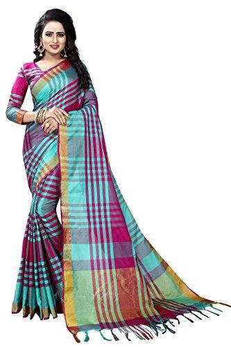 Vrati Fashion Cotton Silk Saree With Blouse Piece (_Purple_Free Size)