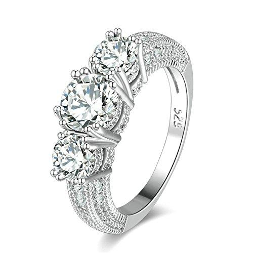 Anazoz placcato oro round bianco zirconia cubica anello fedina fidanzamento bands per donna misura 12