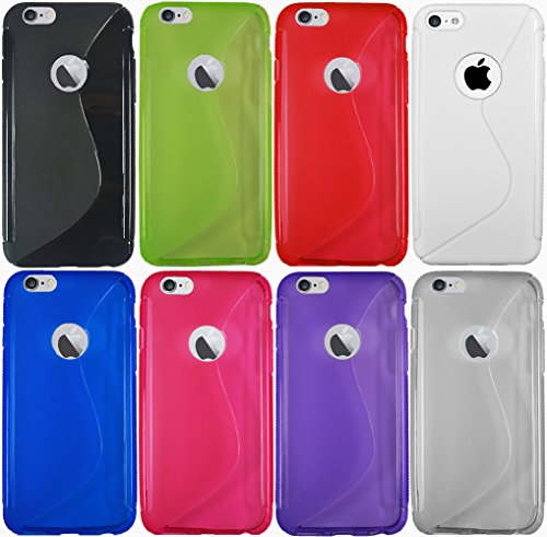 Für Apple iPhone Rubber Silikon Case Tasche Back Cover Hülle iPhone 6 Weiss Transparent + Displayschutzfolie