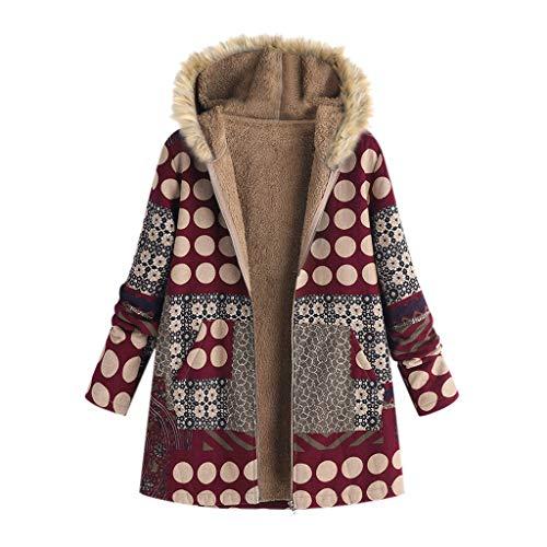 Donna Oversize Felpa Cappotti Signore Sciolto Giacche a Maniche Lunghe Vintage Stampato Zipper Velluto Caldo Outwear(Rosso,5XL)