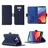 LG G6 2017 4G Hülle Brieftasche Leder blau Cover mit Kartenfach - Zubehör Etui Portfolio smartphone LG mobile G6 Case Schutzhülle (Handy Wallet tasche folio PU Leder, Blue) - XEPTIO accessoires