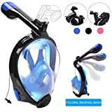 Tauchmaske Vollgesichtsmaske Schnorchelmaske Easybreath ,VELLAA Anti Fog 180 Grad Blickfeld für Erwachsene, Kinder, Gopro Kamera Halterung,Faltbar Schnorchel Maske -