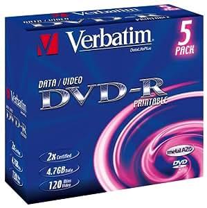 Verbatim DVD-R General Printable 5er-Pack 2x 4,7GB bedruckbare DVD-R Rohlinge im Jewel Case