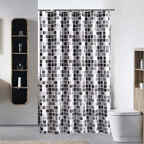 12 X 12 Mosaik (YISHU Top Qualität Duschvorhang Wasserdicht Anti-Schimmel Stoff inkl. 12 Duschvorhangringe für Badezimmer Mosaik 240x200cm)