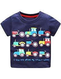 42841bfbfa371 Dragon868 Verano Camisetas de Manga Corta Patrón de Dibujos Animados Camiseta  para Bebés Niños