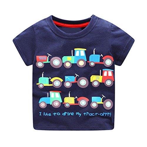 Dragon868 verano camisetas de manga corta patrón de dibujos animados camiseta para bebés niños (3T, azul oscuro)