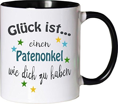 WarmherzIch Becher Tasse Glück ist... Patenonkel Kaffee Kaffeetasse liebevoll Bedruckt Freund Bruder Bro Geburt Weiß-Schwarz