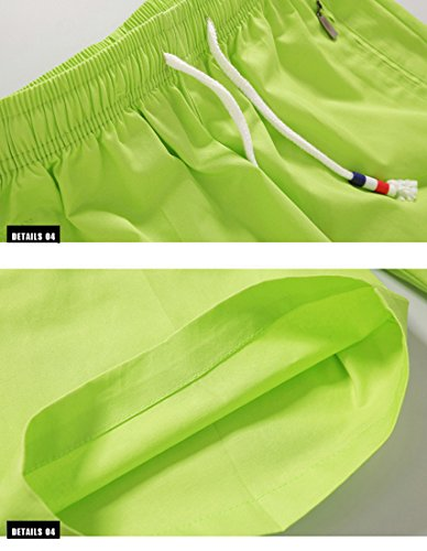 Honeystore Herren Shorts Casual Bermuda Baumwolle Sommer Sport Hose in 12 Farben Grün