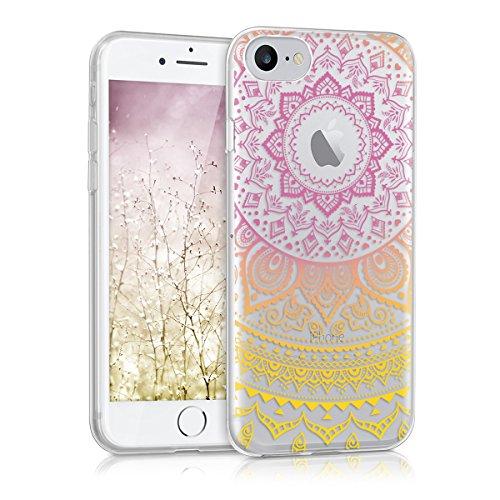 kwmobile Étui en TPU silicone élégant pour Apple iPhone 7 / 8 en or rose métallique soleil indien IMD jaune rose foncé transparent