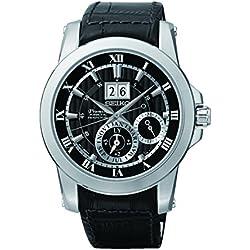 Seiko Premier Kinetik Perpetual - Reloj automático para hombre, correa de acero inoxidable color plateado
