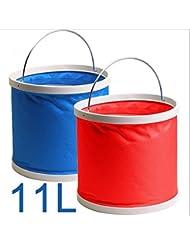 Cubo de agua plegable plegable 11L multifuncionales para pesca Camping Senderismo viajes jardinería con forma de portátil Ultra agarre mango de EVA, tela resistente al agua, (paquete de 2 rojo + azul)