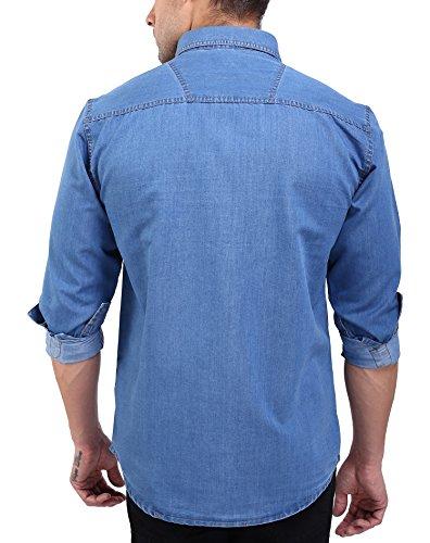 Flags-Mens-Casual-Denim-Shirt-Light-Blue