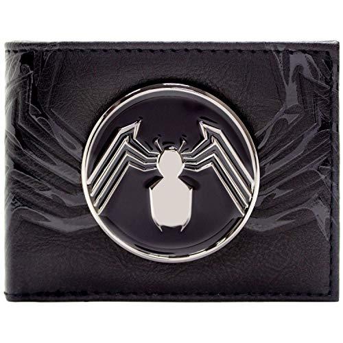 Venom Silberne Spinne Abzeichen Schwarz Portemonnaie Geldbörse (Spiderman 2 Xbox Kostüm)