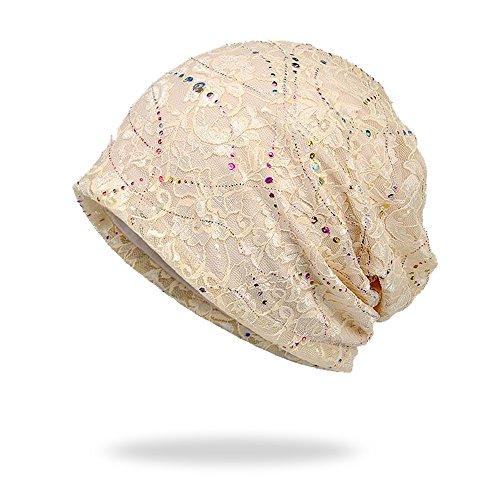 Welrog WELROG Chemo Hut Frau Hut Spitzen Kopftuch Super Weich Slouchy Turban Kopfbedeckungen Kopf Wraps(Beige)