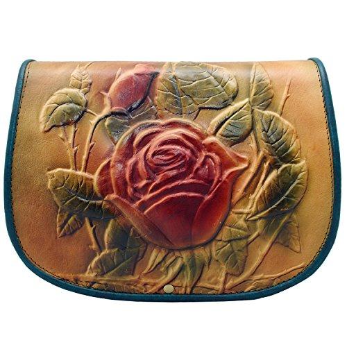 kōson Leder Rose Handarbeit Umhängetasche Handtasche Messenger Bag (Leder Handtasche Urban Geldbörse Hobo)
