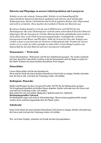 Schiefertafel mit Lasergravur Name Str. Nr. und Ihrem Text/Daten in der gewünschten Schriftart - 6