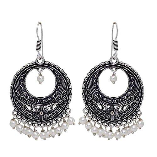 Fashion Honor 10.00 Grams White Beaded Oxidised Silver Hoop Earrings Jewellery Rakhi Gift For Her, Girl, Women, Mother, Sister, Girlfriend, Party Wear, Daily Wear