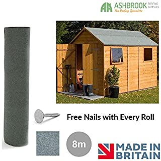 Shed Roofing Felt   Green Mineral   8m x 1m   Free Nails