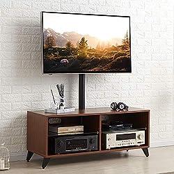 RFIVER Meuble TV avec 4 Compartiments Support Pivotant et Réglables en Hauteur pour téléviseurs Plats et Courbes de 32 à 65 Pouces Noyer TW4002