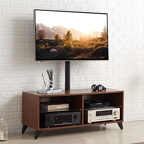 RFIVER Universal TV Ständer Fernsehschrank Fernsehtisch Fernsehständer Holz höhenverstellbar schwenkbar in Nussbaum für 32 bis 65 Zoll TV TW4002