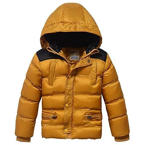 Xiaoyouyu Doudoune d'hiver pour garçon Motif patchwork Coton rembourré épais - jaune - 8 ans