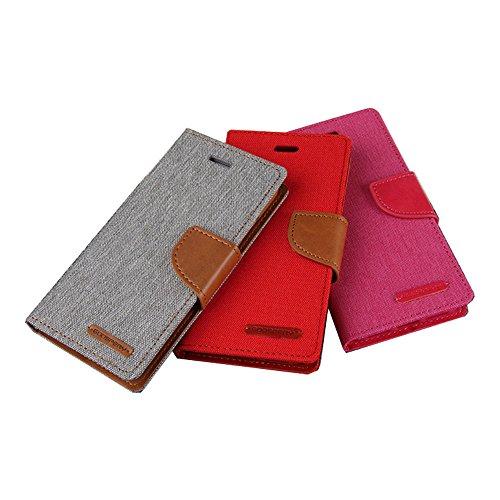 LG V10 Hülle Leinwand Umhängetasche REXANG Geschenk [Brieftasche und Kartenfächer] [Bookstyle Buch] [mit Stand Funktion] [Woven + Leder (PU) + TPU] (LG V10, Grau) - 6
