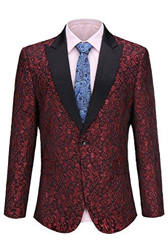 FISOUL Herren Anzug Blumenparty Kleid, Anzug Stilvolle Dinner Smoking Jacket Hochzeit Blazer xx-Large z3-Wein rot