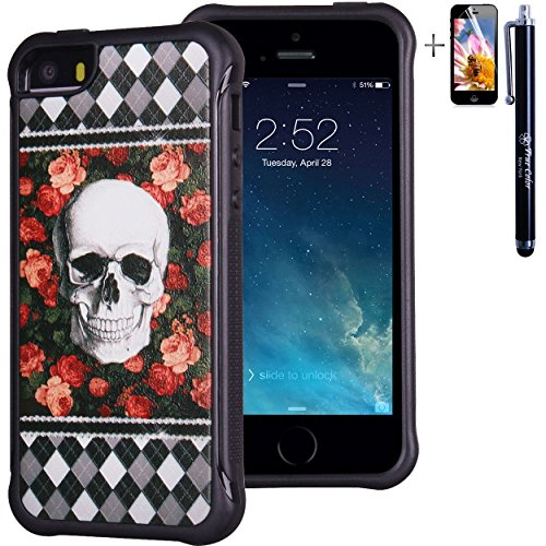 iPhone 5 5S case, True Color® rilievo stampato resistente agli urti TPU protettiva antiscivolo grip snap-on morbido robusto cover per iPhone 5 5S [True Impact Series] + pennino e pellicola protettiva Skull on Roses & Argyle