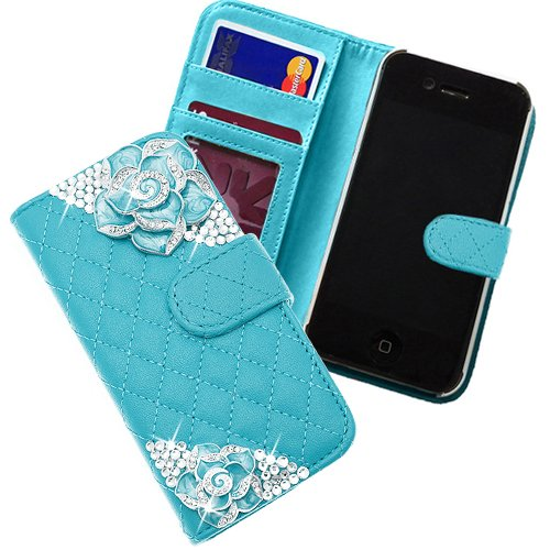 Xtra-funky esclusivo custodia con raccoglitore stile ecopelle trapuntato borsa con 2 bei cristallo incrostato roses per iphone 4 / 4s - blu