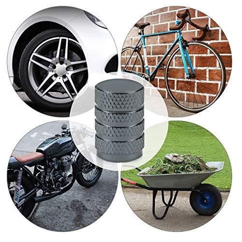 5in1 Set: kwmobile Ventilkappen in Anthrazit – Metall Kappen für Auto Motorrad Fahrrad Reifen Ventile - 5