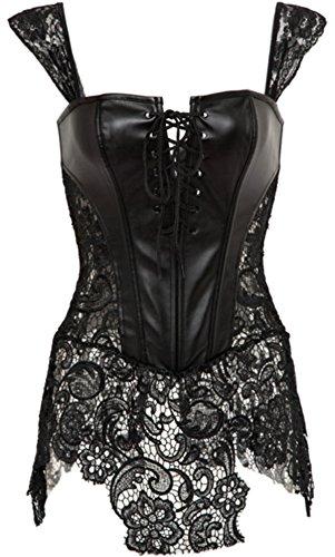 Damen Korsagenkleid Schwarz Leder corsage Clubwear Übergrößen S-6XL (3XL, Schwarz)
