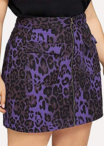 Sylar Faldas Cortas Mujer Estampado de Leopardo Minifalda Mujer Cintura Alta con Cremallera Moda Vintage Falda a-Line Elegante