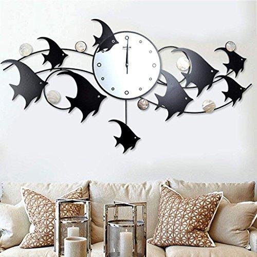 (QiXian Moderne einfache Fisch-Eisen-Kunst-Wohnzimmer-stumme Quarz-Uhr)