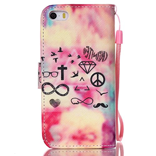 Etche Flip Case pour iPhone 5,Housse en cuir PU pour iPhone 5s,Coque pour iPhone 5,Wallet Case pour iPhone 5s,Titulaire Card Slot Folio couverture pour iPhone 5,Colorful cuir imprimé souple PU stand c element