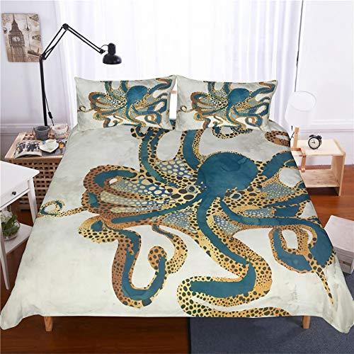 JSDJSUIT Bettwäsche-Set MUSOLEI 3D Bettbezug Set Art Octopus Bettwäsche Set BettlakenBettTwin Queen King Double Size, US Full 3tlg (Queen-bett-sets, Türkis)