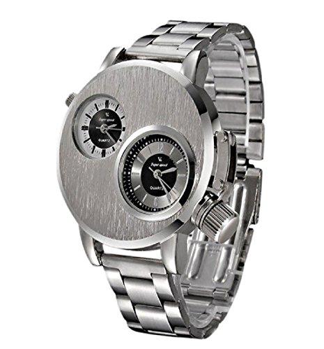❤️Amlaiworld Mode Hommes Montre Militaire en Acier Inoxydable Date Montre-bracelet Analogique à Quartz Sport (Montre, Argent)