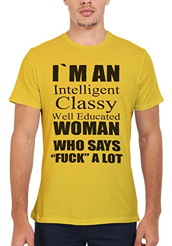 Intelligent Classy Well Educated Woman Swear Men Women Damen Herren Unisex Top T Shirt Licht Gelb