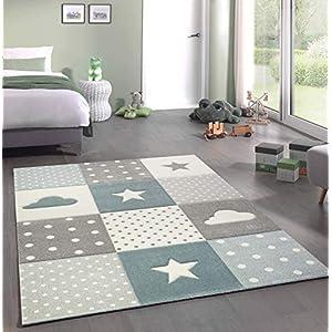 Merinos Kinderteppich Junge Teppich Kinderzimmer mit Stern Wolke in Blau Grau Creme