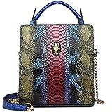 Super Feuer weiblichen Tasche Schädel Tasche Schlange Muster Kontrast Farbe kleine quadratische Tasche Kette Schulter Messenger Bag (Lila, 22 * 15 * 7cm)