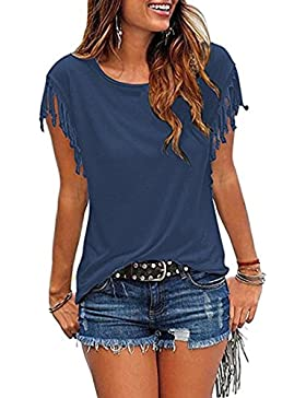 BLACKMYTH Mujer Redondo Color Sólido Tops Linda Borla Casual Blusa Camisetas