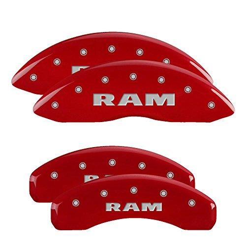 Set of 4 MGP Caliper Covers 12124SRMHBK Black Powder Coat Finish Front and Rear Caliper Cover RAM RAMHEAD Silver Characters, Engraved