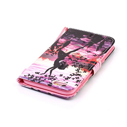 Cover iPhone 6 Plus ISAKEN Drawing Pattern Design Elegante borsa Custodia in Pelle PU per iPhone 6S Plus Sintetica Rigida Case Cover Protettiva Flip Portafoglio Case Cover Protezione Caso con Supporto angel girl farfalla