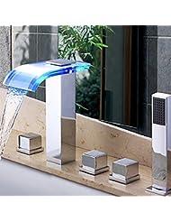 DuZiShi-slt Todo el cobre, grifo de la bañera, 5 sistemas, grifo separado de la cuenca