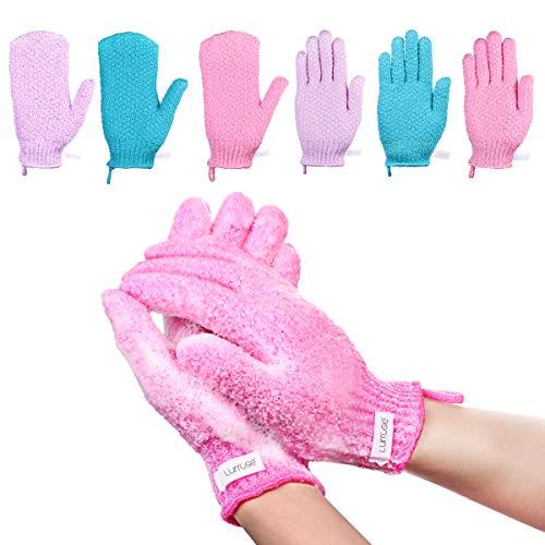 Lurrose Peeling-Handschuhe Scrubbing Badehandschuhe doppelseitige Bathwater Scrubbing Massage Handschuhe für Männer Frauen Kinder,6 Paar