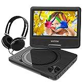 WONNIE 7,5' Lecteur DVD Portable avec Un Écran Rotatif 270°, Carte SD et Prise USB avec Charge directe Formats/RMVB/AVI/MP3/JPEG, Parfait pour Enfants (Noir)