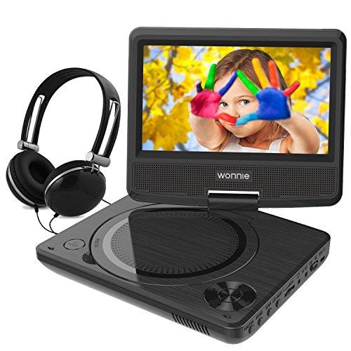 WONNIE 7,5 Lecteur DVD portable avec un écran rotatif 270°, Carte SD et prise USB avec charge directe Formats/RMVB/AVI/MP3/JPEG, Parfait pour Enfants (Noir)