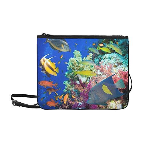 WYYWCY Tropisches Fisch-Korallenriff auf rotem kundenspezifischem hochwertigem Nylon dünner Clutch-Beutel-Kreuzkörper-Beutel-Schulter-Beutel -